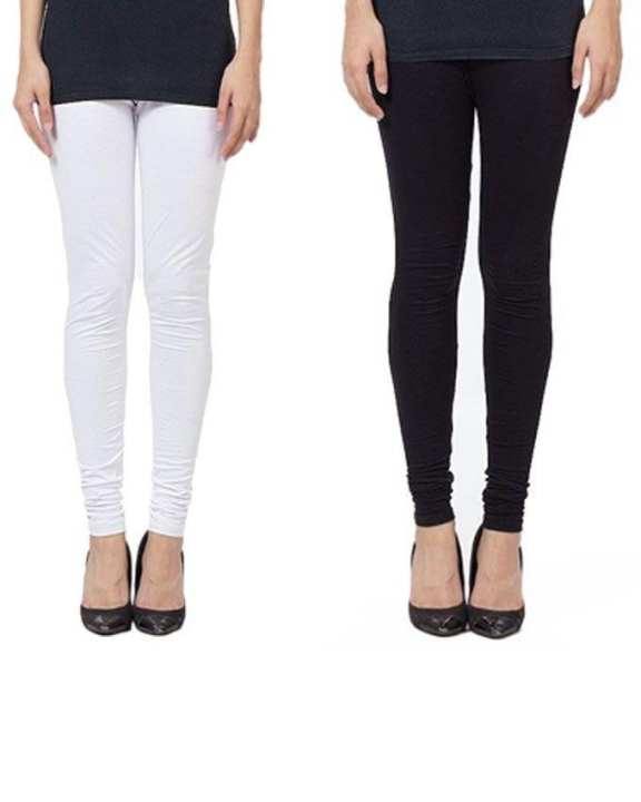 Pack Of 2 - Black & White Cotton Stretchable Tights For Women