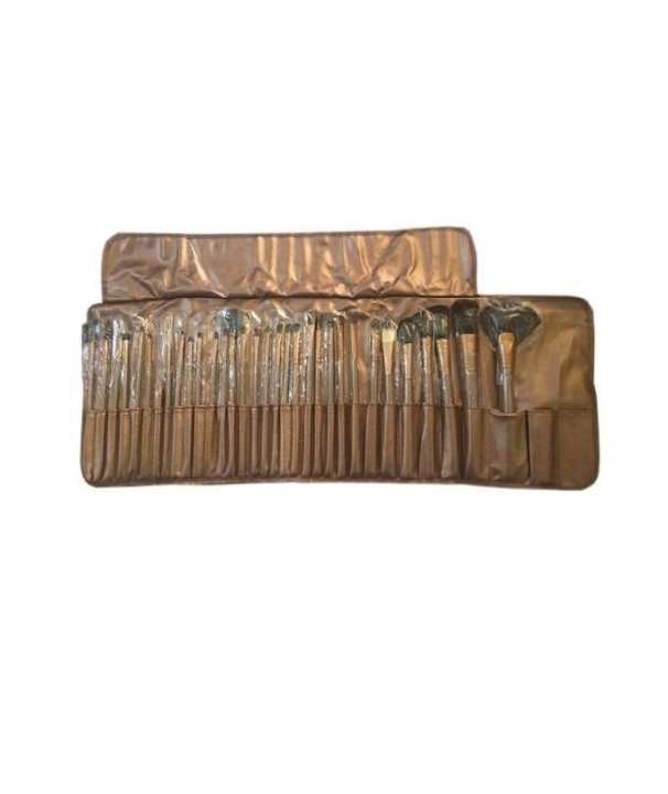 Makeup Brushes Kit With Pouch - 32 Pieces - Brown