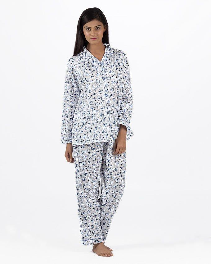 Blue Cotton Nightsuit For Women - Blue Cotton Nightsuit