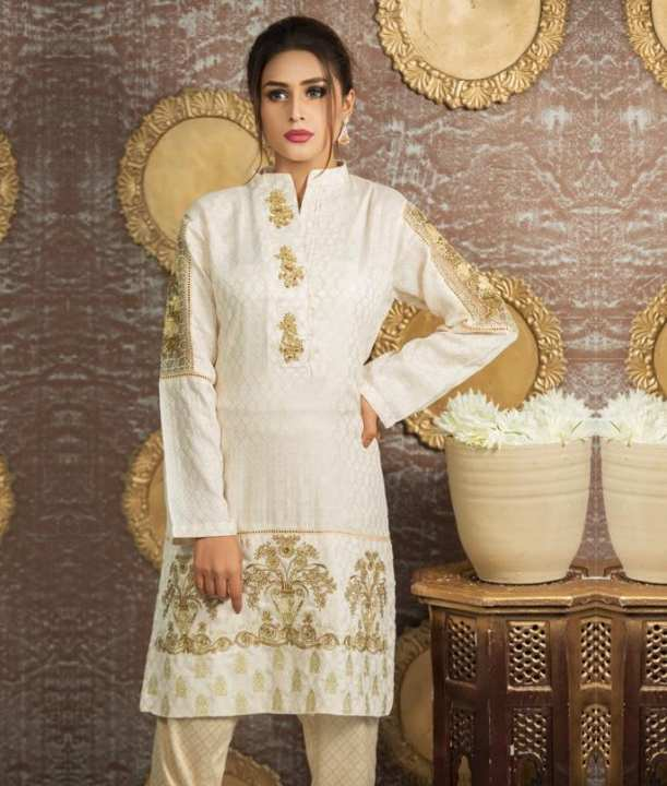 Daffodil Classic white embroidered shirt for women