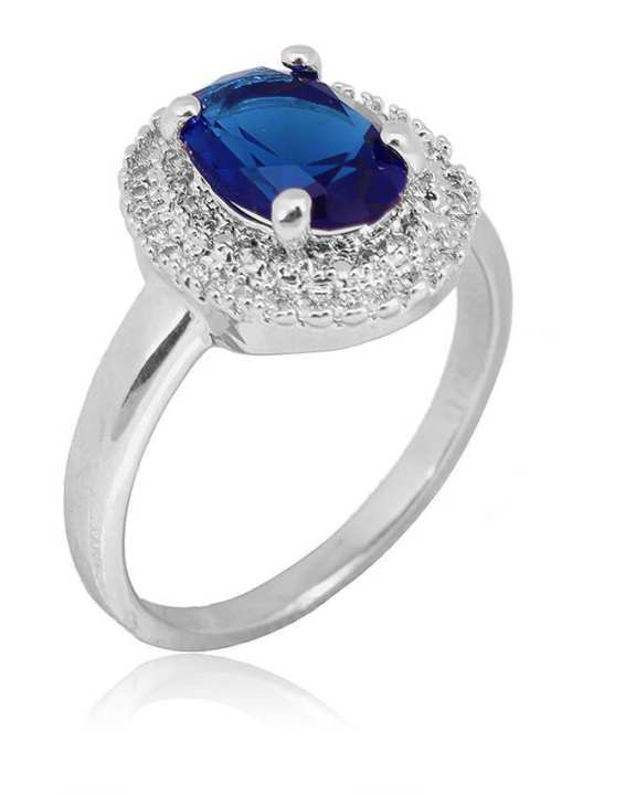 Silver Steel White Gold Filled with Blue Zircon Ring