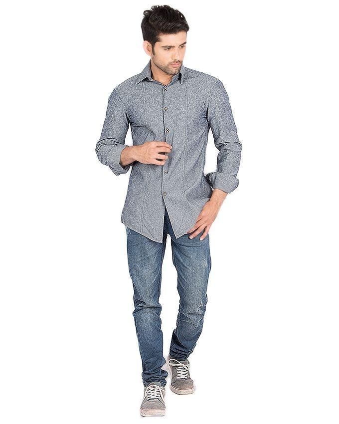 Grey Denim Shirt for Men