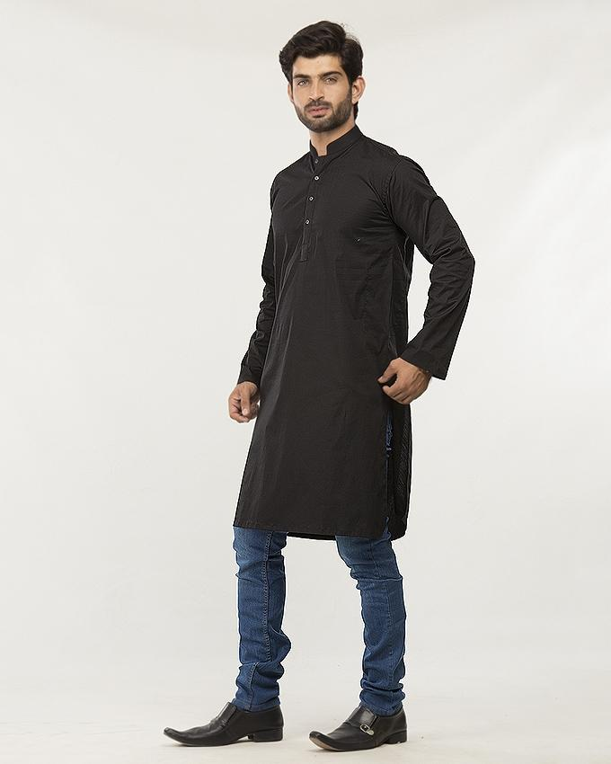 Black Cotton Black Kurta For Men