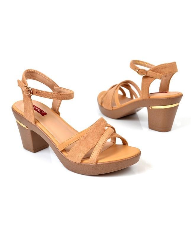 Women's Cream Medium Heels Sandal