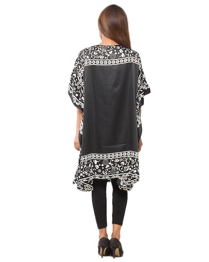 Black & White Polyester Printed Dull Satin Poncho for Women - PON09-02