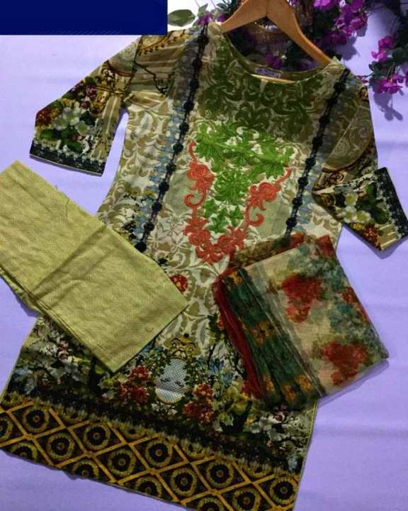 Cream Green Printed & Embroidery Lawn Unstitched 3 Piece Suit