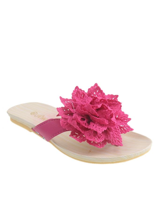Pink Synthetic Leather Slippers for Women - II17