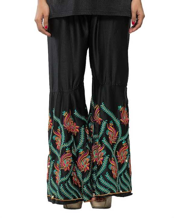 Multicolor Silk Embroidered Peplum Pant For Women