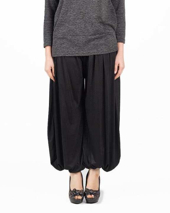 Black Viscose Harem Pant For Women - M D Z -118 - B K