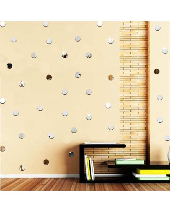 100Pcs 3D Acrylic Mirror Round Circle Shape Wall Stickers - Silver