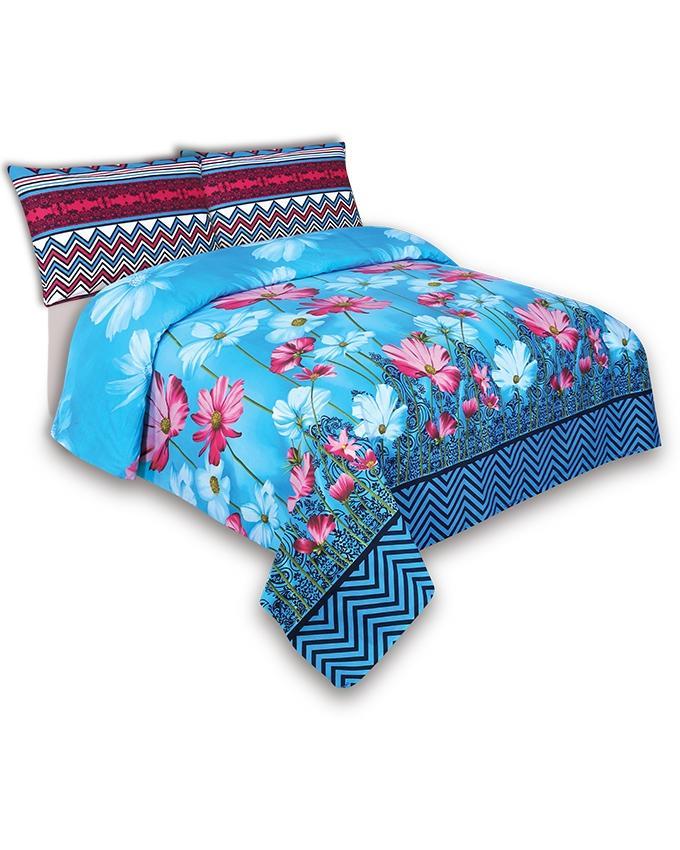Blue Cotton King Size Bedsheet