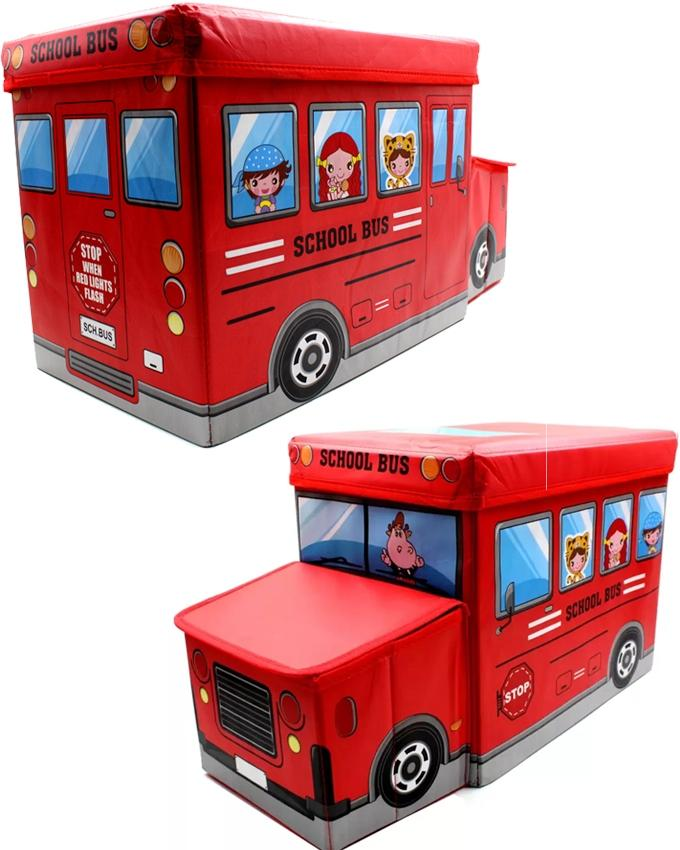 School Bus Toys Storage Box with Sitting Hood - Red