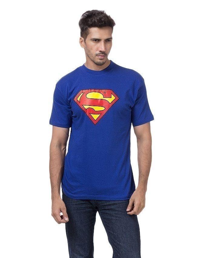 Blue Cotton Superman Shirt For Men