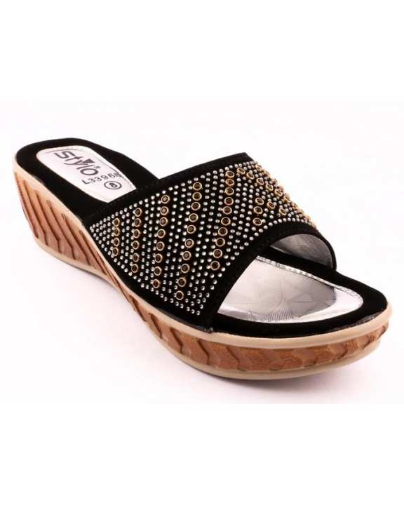 Black Synthetic Ladies Casual Slipper