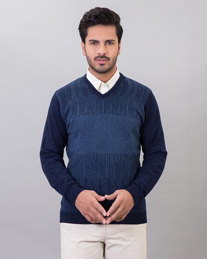 D,N,Blue Lambs Wool Sweater For Men
