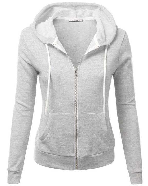 Heather Grey Zipper Fleece Hoodie For Women