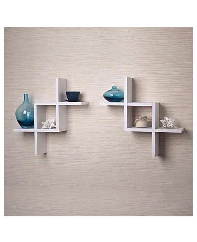 Fine 2 Reversed Criss Cross Wall Shelf White Download Free Architecture Designs Scobabritishbridgeorg
