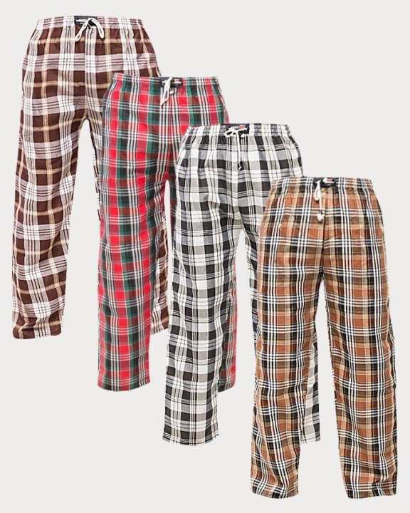Pack of 4 - Multicolor Cotton Checkered Pajama for Men