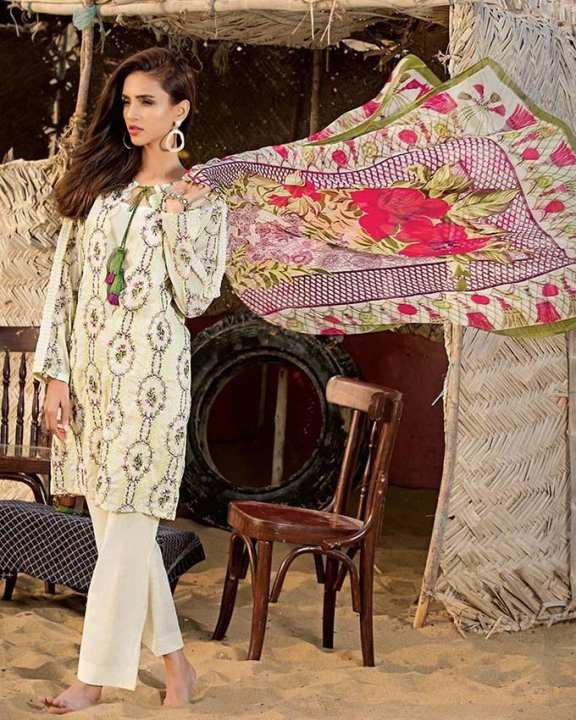 Gul Ahmed - Off White Chiffon with Embroidered Front/Sleeves & Printed Back 3PC-Unstitched -  C-504-158440