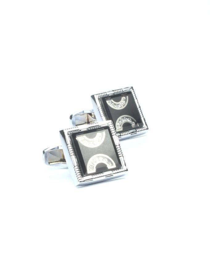 Silver & Black Alloy Cufflinks for Men - CU-0169
