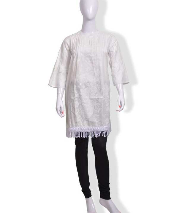 White Cotton Kurti For Women