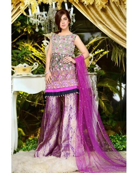 Purple Heavily Embellished Blue Shirt With Brocade Gharara & Sequenced Dupatta for Women
