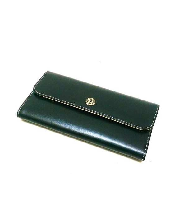 Black & Yellow Leather Wallet For Women