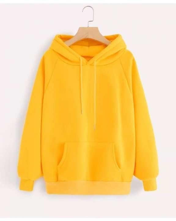 Yellow Hoodie Pocket Drawstring Hooded Casual Pullover