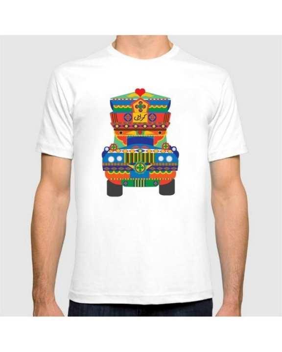 White-Karachi Truck Art Printed Graphic T-Shirt