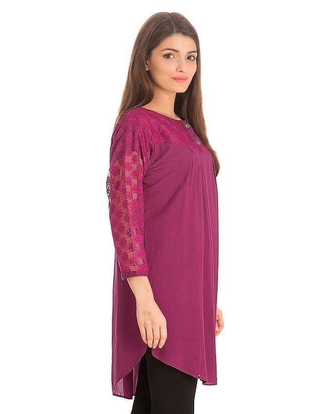 Purple Cotton & Net Tunic For Women