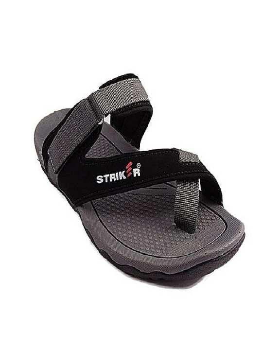 Grey Black Rubber Slippers For Men