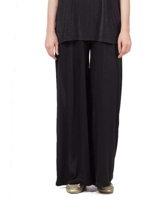 Black Viscose Cotton Palazzos For Women