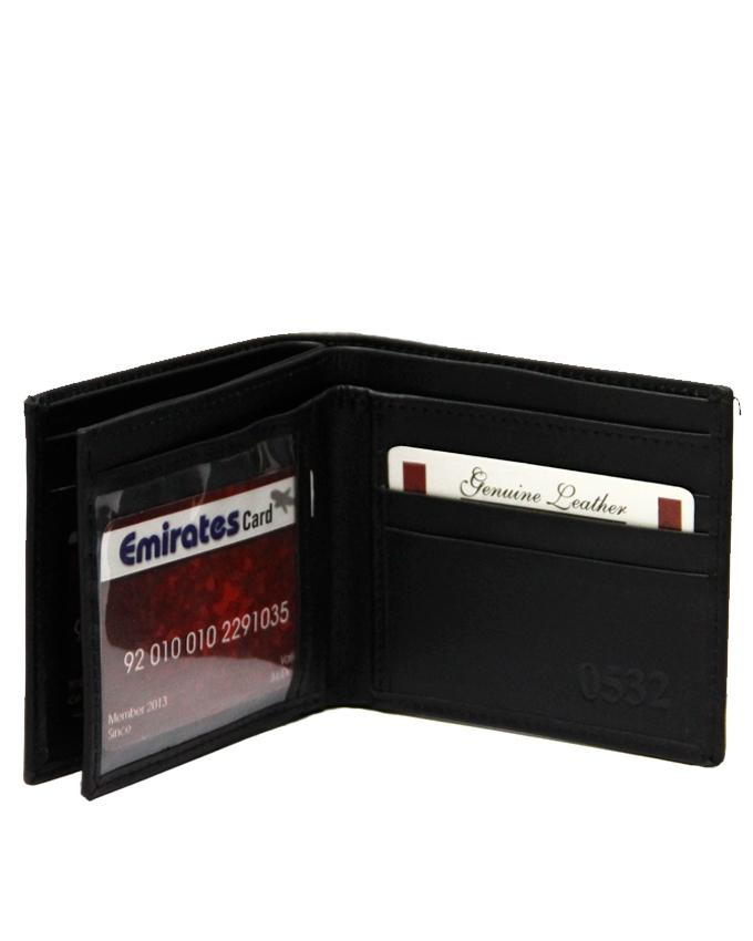 Black Leather Wallet For Men - 0532-4HAMIZ003