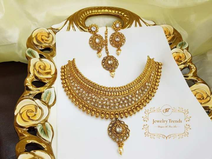 Indian Polki Stylish Antique Gold Vintage Look Chokkar Set