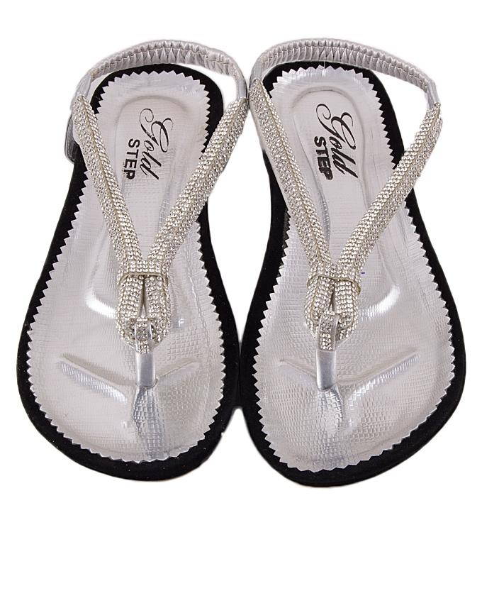 Silver Leather Shinning V-Strap for Women - US12