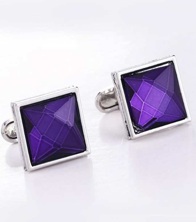 Silver Square Purple Fashion Cufflinks with Free Gift Packaging