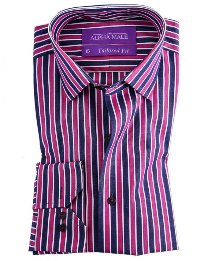 Maroon & Black Pure Egyptian Cotton Striped Shirt for Men