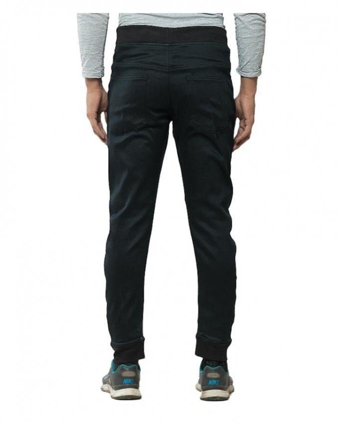 Black Denim Sweatpant with Black Rib & String for Men