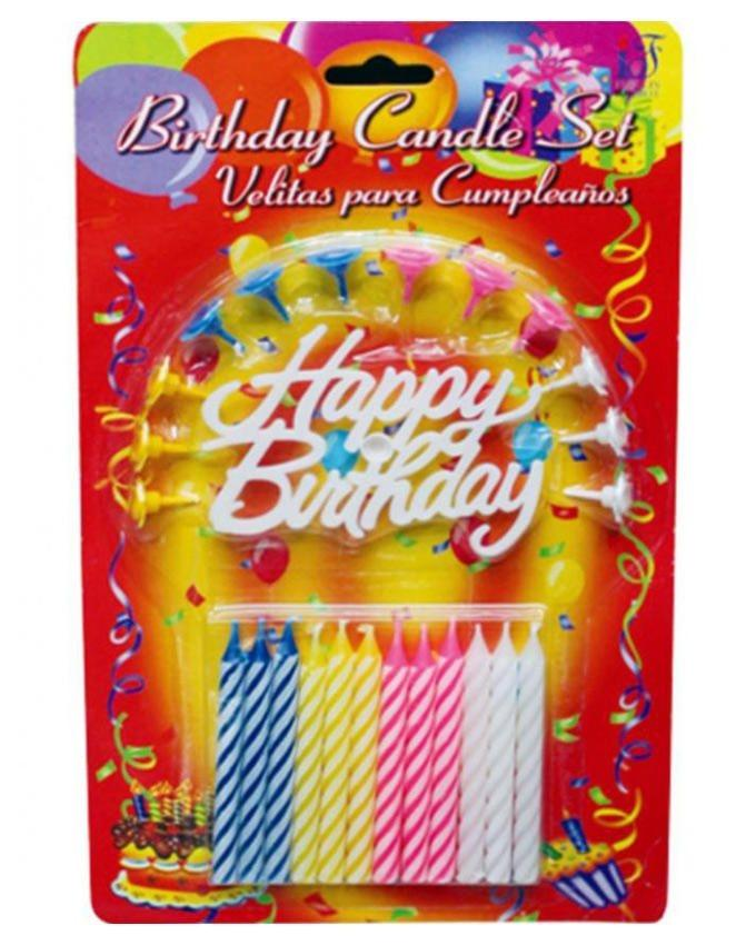 Pack of 12 - 06 - Birthday Candles - Multicolour