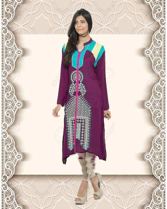 Purple Malai Lawn With Color Block & Embroidery Kurta For Women