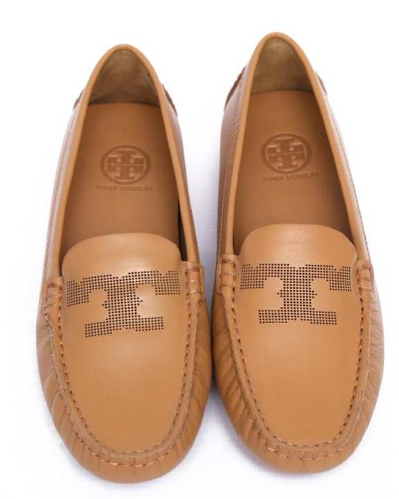 Beige Leather Driving Shoes For Women