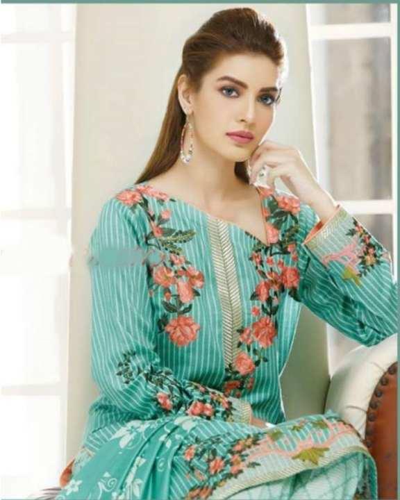 Star - Light Green Flower Lawn Crisp-Z Unstitched Suit For Women - 3 Pcs
