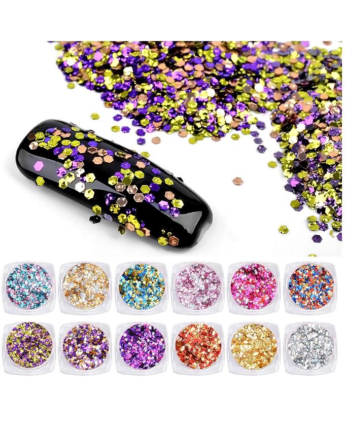 Set Of 12 - Glitter Sequence Pots of Nail Art Decoration