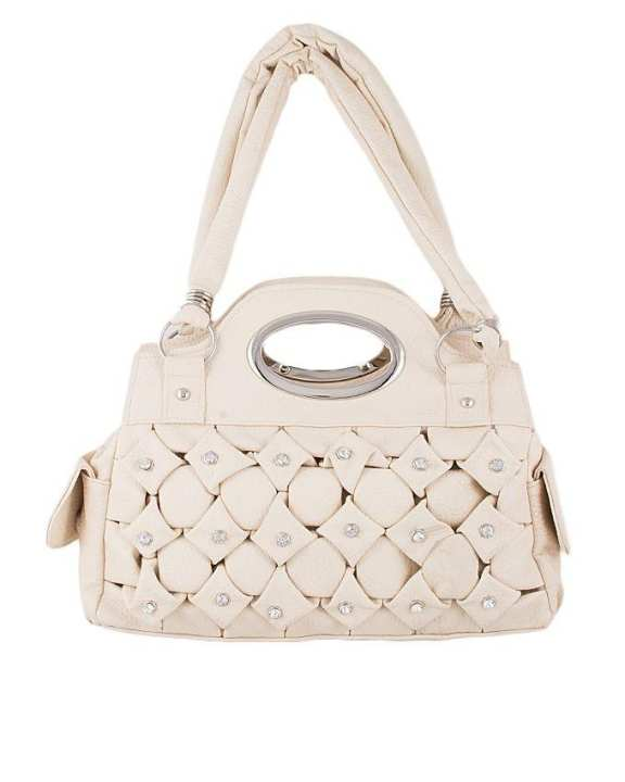 Off White Leather Hand Bag For Women -01