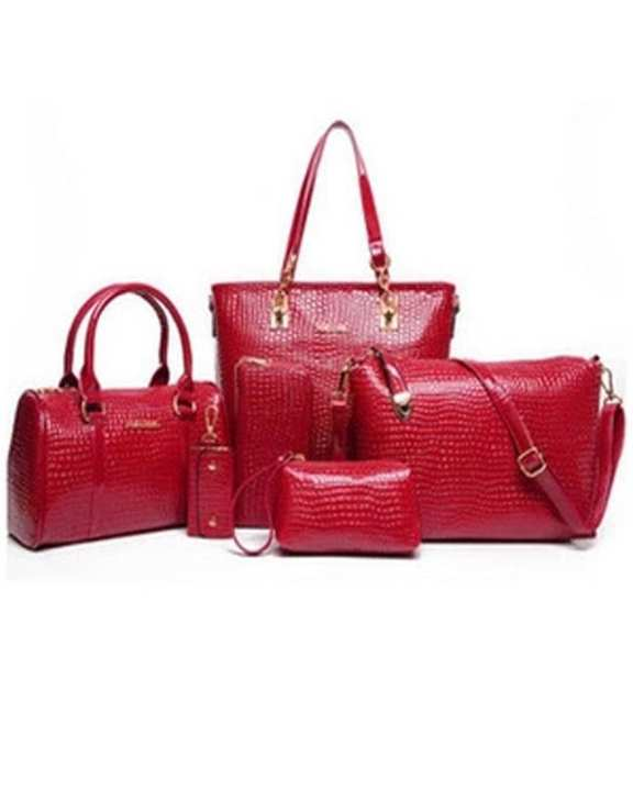 Worsely Red 6 Piece Crocodile Pattern Ladies Hand Bags