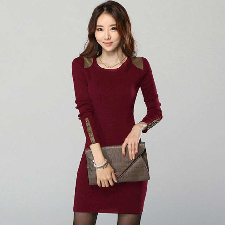 Winter Women Dress Fashion Long Sleeve Sexy Solid Color Slim