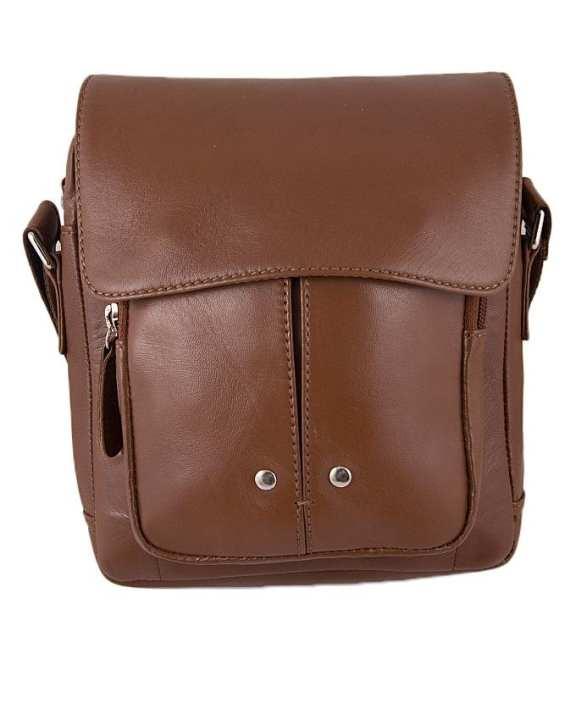 Cognac Leather Cross Body Bag For Women