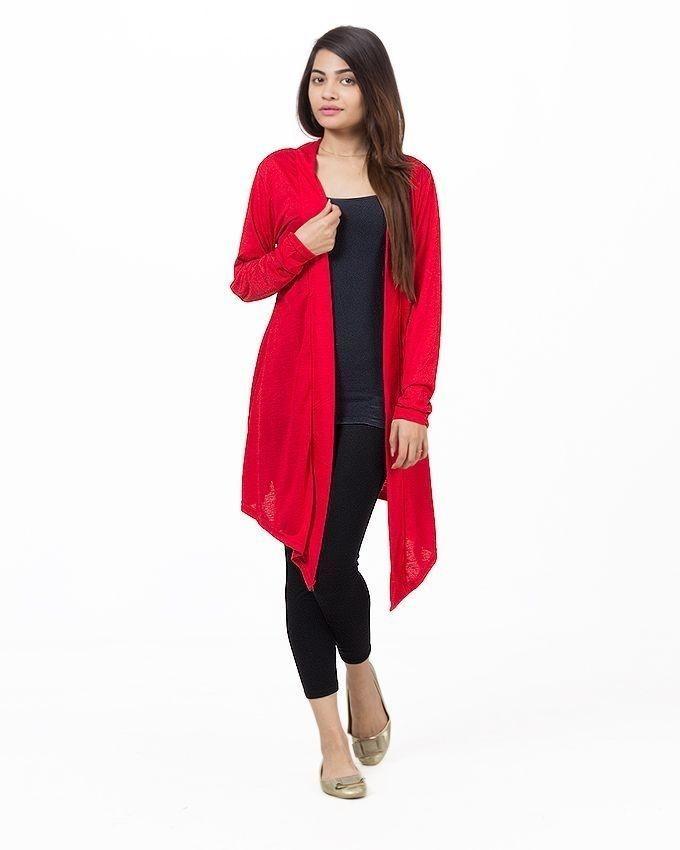 Red Viscose Long Shrug For Women