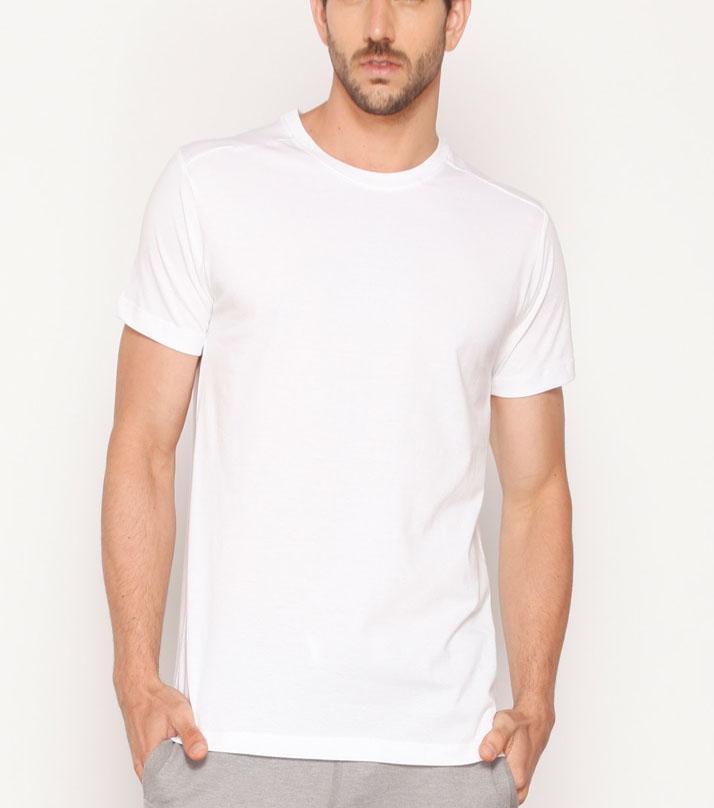The Shop - White Cotton Round Neck Tshirt For Men - Rn-w1