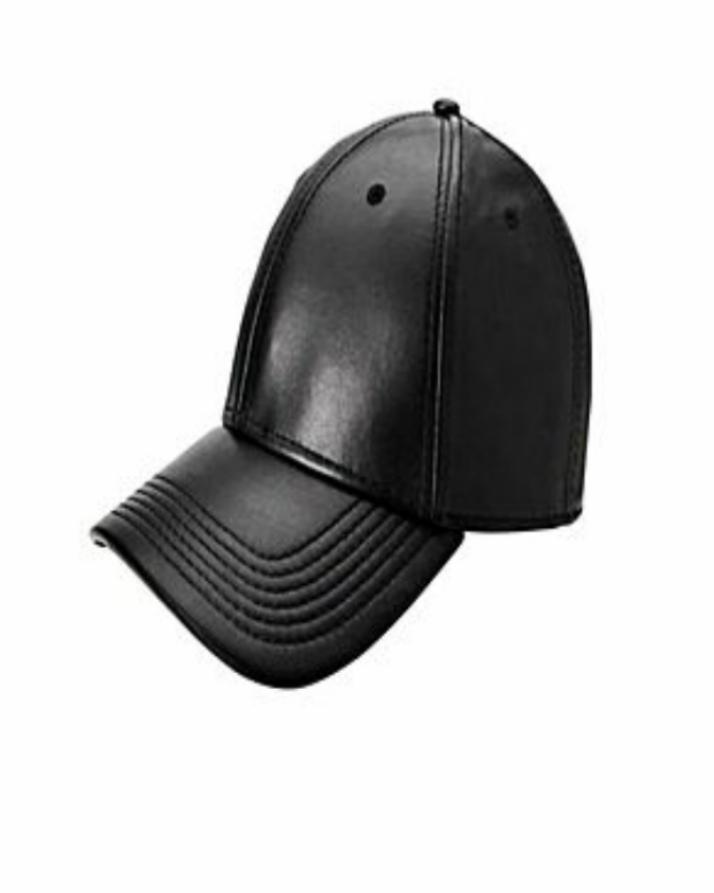 Black Leather Cap - Fine Quality